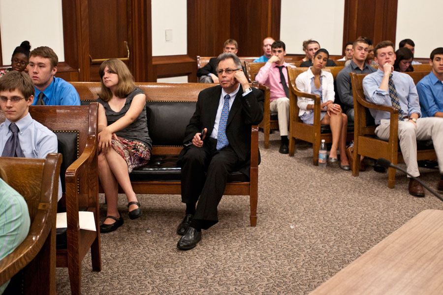 House Clerk Steven James sitting with interns