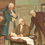 mural of 1779: John Adams, Samuel Adams, and James Bowdoin Drafting the Massachusetts Constitution of 1780