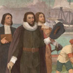 mural of 1630: Governor Winthrop at Salem Bringing the Charter of the Bay Colony to Massachusetts