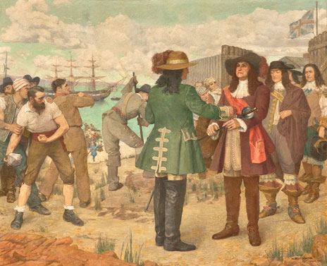 mural of 1689: Revolt Against Autocratic Government in Massachusetts: The Arrest of Governor Andros