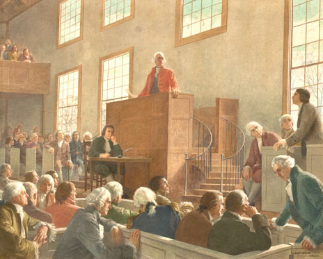 mural of 1788: John Hancock Proposing the Addition of the Bill of Rights to the Federal Constitution