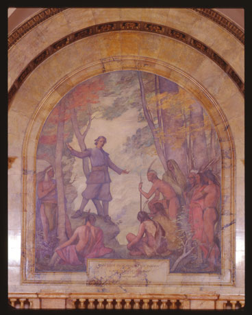 mural of John Eliot Preaching to the Indians