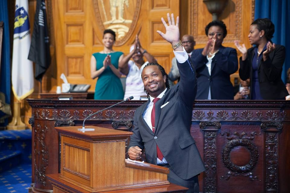Rep. Carvalho thanks supporters during his Swearing-in Ceremony at the State House