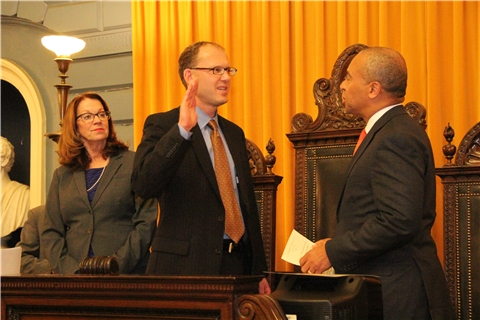 Governor Patrick swears in Senator Lewis following his April 2014 special election
