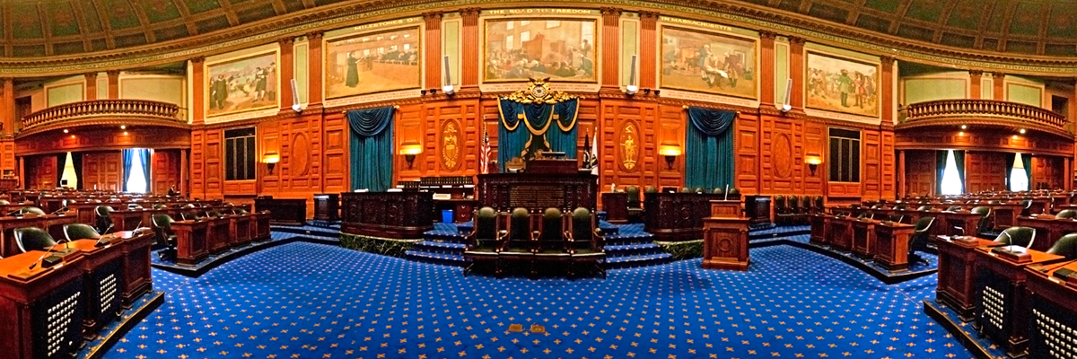A panoramic photo of the House Chamber